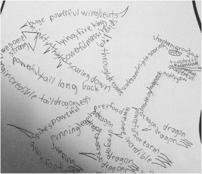 concrete poem of a dragon, by a grade 5 student
